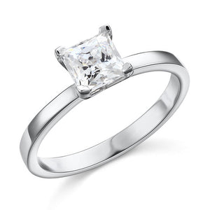 1 Carat Created Princess Diamond Engagement Sterling 925 Silver Ring XFR8025