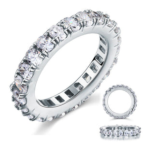 Oval Cut Eternity Solid Sterling 925 Silver Created Diamond Ring XFR8059