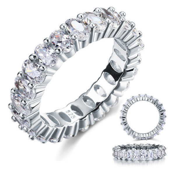 Oval Cut Eternity Solid Sterling 925 Silver Wedding Ring Band Jewelry XFR8069