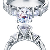 Vintage Style 1.25 Carat Created Diamond Solid 925 Sterling Silver Wedding Engagement Ring XFR8079