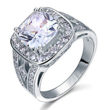 Art Deco Vintage Style 4 Carat Cushion Created Diamond Solid 925 Sterling Silver Wedding Engagement Ring XFR8091