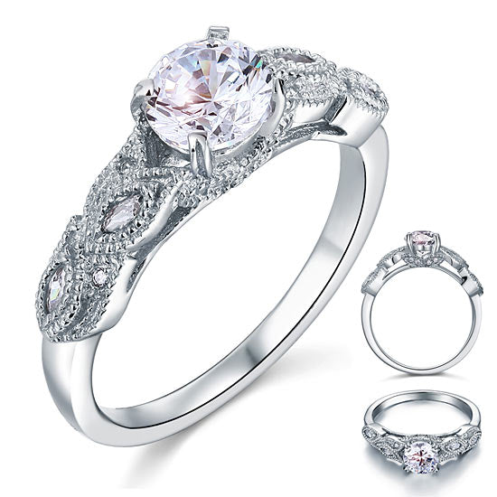 Vintage Style 1 Ct Solid 925 Sterling Silver Bridal Wedding Engagement Ring XFR8112