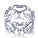 925 Sterling Silver Heart Ring Band Wedding Band Jewelry XFR8139