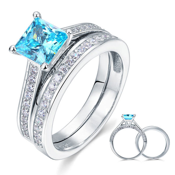1.5 Carat Princess Cut 2-Pcs Fancy Blue Created Diamond 925 Sterling Silver Wedding Engagement Ring Set XFR8196S