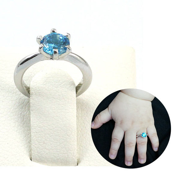 Newborn Baby 925 Sterling Silver Ring Blue Created Diamond Photo Prop XFR8207