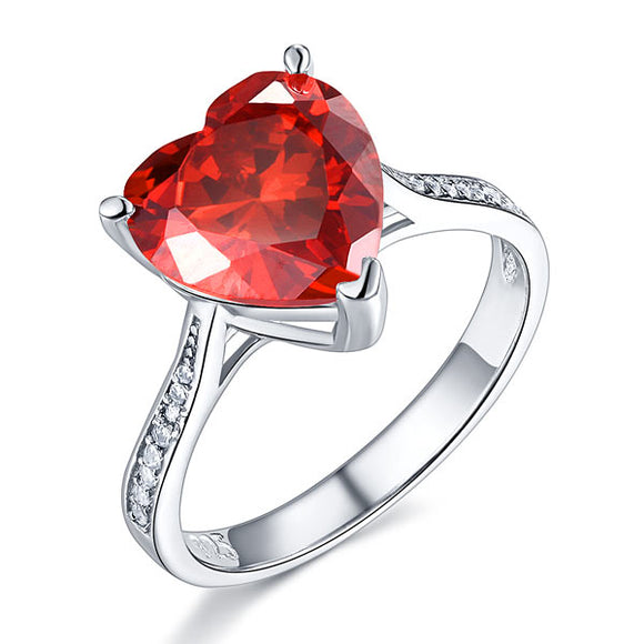 925 Sterling Silver Bridal Ring 3.5 Carat Heart Ruby Red Created Diamond Jewelry XFR8217