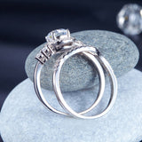 Solid 925 Sterling Silver Wedding Engagement Ring Set Anniversary Art Deco 1 Ct XFR8269