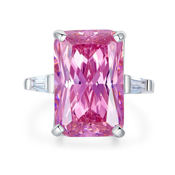 8.5 Carat Pink Created Diamante Stone Solid 925 Sterling Silver Ring Party Luxury Jewelry XFR8307