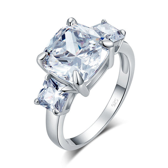 Cushion Cut 4 Carat Solid 925 Sterling Silver Ring Three-Stone Pageant Luxury Jewelry XFR8309