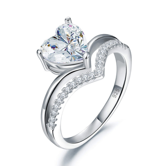 2 Carat Heart Created Cut Diamond Engagement Ring 925 Sterling