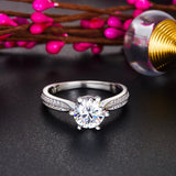 Engagement Crown Ring 925 Sterling Silver 1 Ct Created Diamond