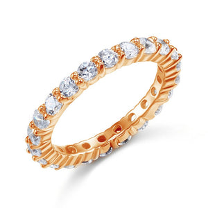 Solid 925 Sterling Silver Wedding Band Eternity Stacking Ring Rose Gold Plated XFR8332