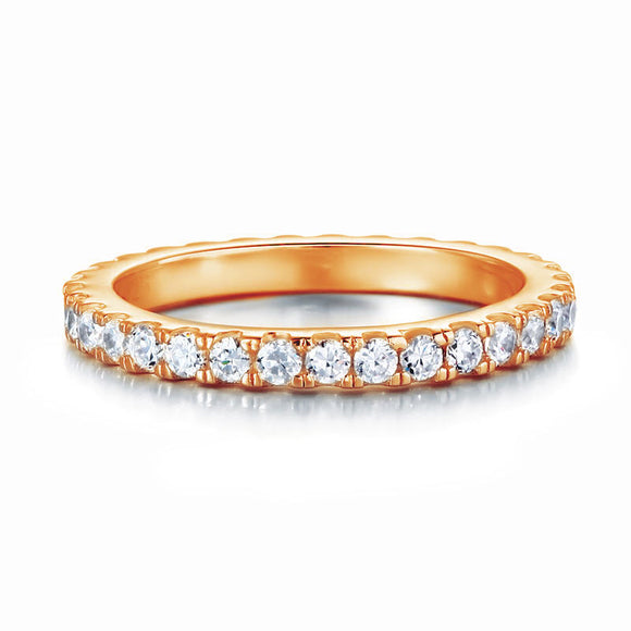 Eternity Ring Created Diamond Solid Sterling 925 Silver Rose Gold Plated Wedding Band  XFR8334