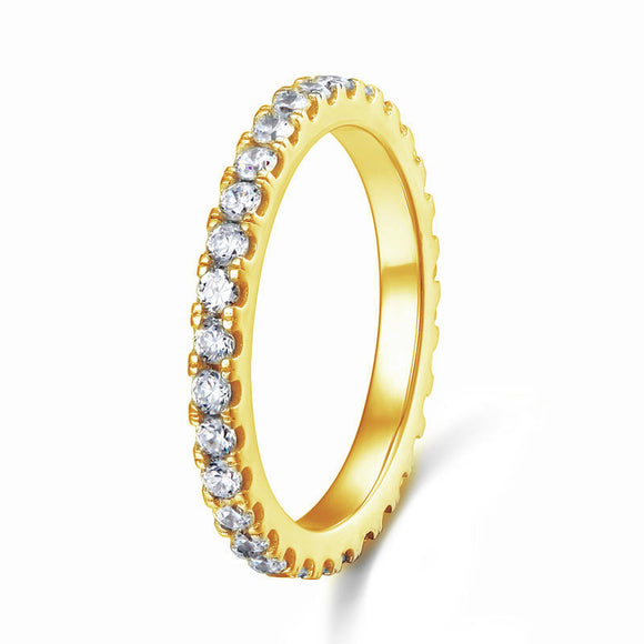 Eternity Ring Created Diamond Solid Sterling 925 Silver Yellow Gold Plated Wedding Band XFR8335
