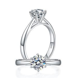 1 Carat Moissanite Diamond Classic 6 Claws Engagement 925 Sterling Silver Ring MFR8339