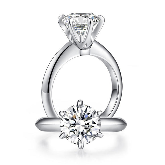 2.5 Carat Moissanite Diamond (9 mm) Luxury Ring 6 Claws Engagement 925 Sterling Silver MFR8350