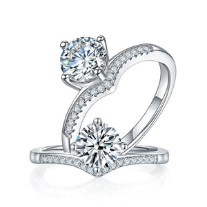 1 Carat Moissanite Diamond  Ring Engagement 925 Sterling Silver MFR8352