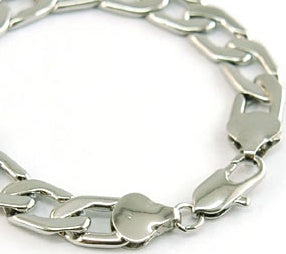 Hip Hop White Gold Plated Curb Links (Silver Colour) Mens Bracelet MB085