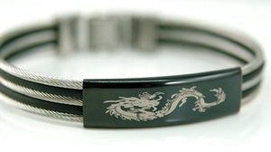 Hip Hop Black Dragon Stainless Steel Mens Bangle MB125