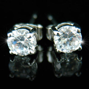 Cubic Zirconia Stud 18K White Gold Plated 6 mm Mens Earrings XME025