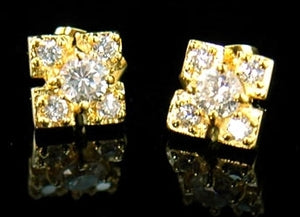 CZ Created Cubic Zirconia Bling Stud 18K Gold Plated Mens Earrings XME052