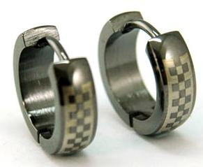Black Checkered Stainless Steel Hoop Mens Earrings XME019
