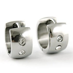 Mens CZ Created Cubic Zirconia Stainless Steel Huggie Harrings ME090