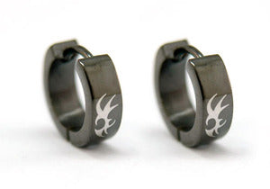 Black Gothic Stainless Steel Hoop Mens Earrings XME101