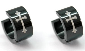 Black Gothic Cross Stainless Steel Huggie Mens Earrings XME161