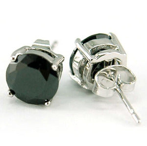 6 mm Black CZ Created Cubic Zirconia Round Stud Mens Earrings XME050