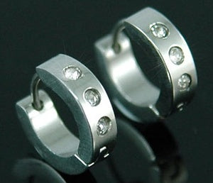 Shine 3 CZ Created Studs Stainless Steel Hoop Mens Earrings ME235