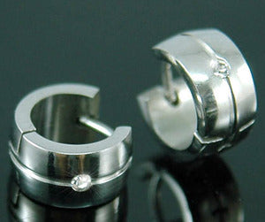 Mens CZ Created Stone Solid Stainless Steel Huggie Earrings ME237