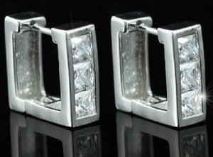 3 Created CZ Studs 18K White Gold Plated Square Mens Earrings XME241