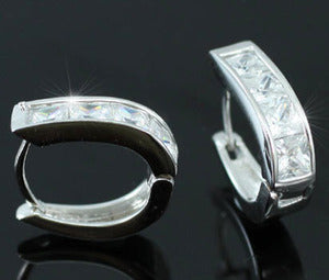 Cubic Zirconias Studs 18k White Gold Plated Mens Earrings XME248