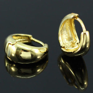 Plain Round Hoop 18k Gold Plated Mens Earrings ME260