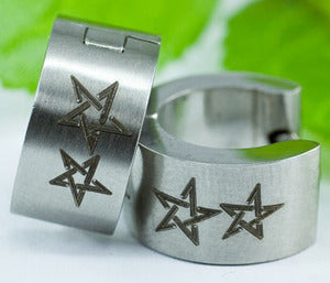 Silver Double Stars Stainless Steel Mens Earrings ME276