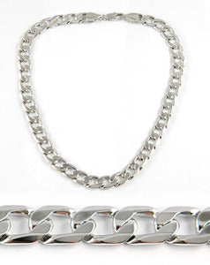 Hip Hop Mens 18K White Gold Plated Curb Links Necklace Chain MN002