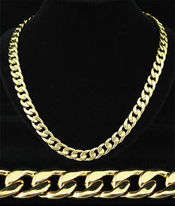 "24"" x 11mm Hip Hop 18K Gold Plated Curb Links Mens Necklace XMN052"