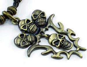 Halloween Brass Skull Heads Mens Necklace Chain MN056