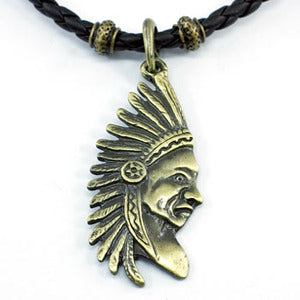 American Indian Black Rubber Brass Mens Necklace XMN058
