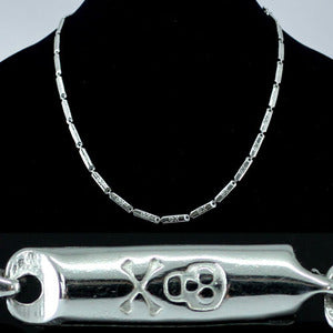 Skull Cross Bone Links Stainless Steel Mens Necklace Chain MN067