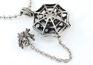 Biker Gothic Hip Hop Spider Net Stainless Steel Mens Pendant Necklace XMP016