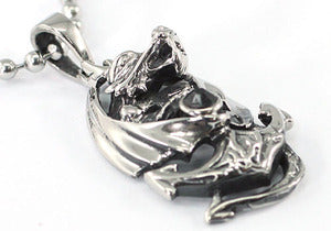 Gothic Flying Dragon w/ Anchor Stainless Steel Mens Pendant Necklace MP020