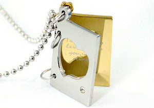 Two Tone Love Theme Book Cubic Zirconia Stud Steel Mens Pendant Chain MP021