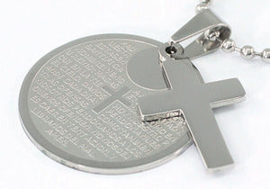 Religion Gothic Cross Bible Quote Stainless Steel Mens Pendant Necklace MP038