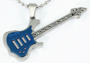 Blue Guitar Music Instrument Stainless Steel Mens Pendant Necklace XMP043