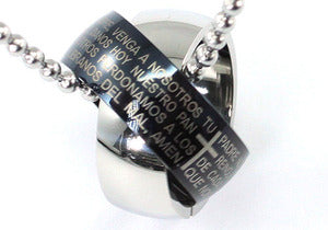 Two Tone Religion Cross Bible Quote Stainless Steel Mens Pendant Necklace MP046