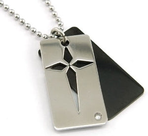 2 Tone Gothic Cross Solid Stainless Steel Mens Pendant Necklace XMP108