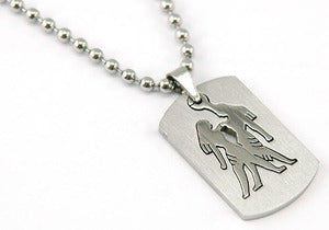 Gemini Zodiac Sign - Stainles Steel Mens Pendant Necklace MP127