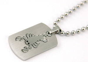Scorpio Zodiac Sign - Stainles Steel Mens Pendant Necklace MP128